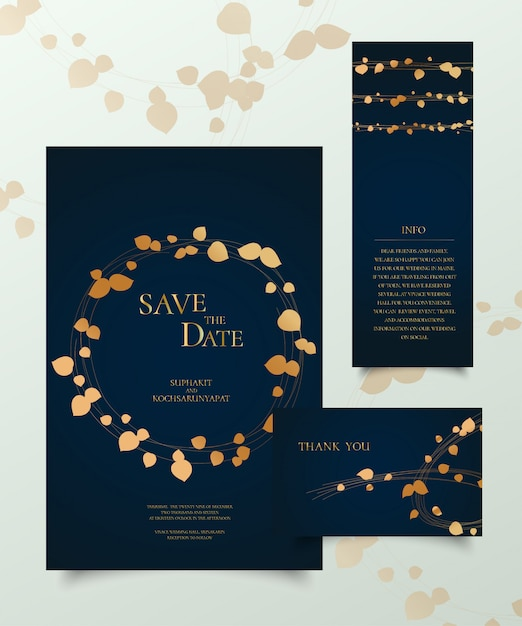 Zestaw złota karta zaproszenie. Premium Wektorów