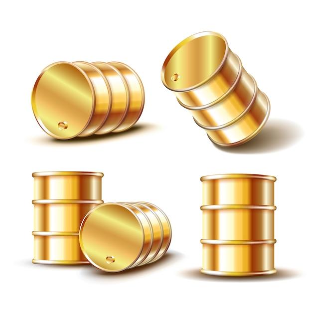 Zestaw Złota Metalowa Beczka Oleju W Innej Pozycji Na Białym Tle. Ilustracja Premium Wektorów