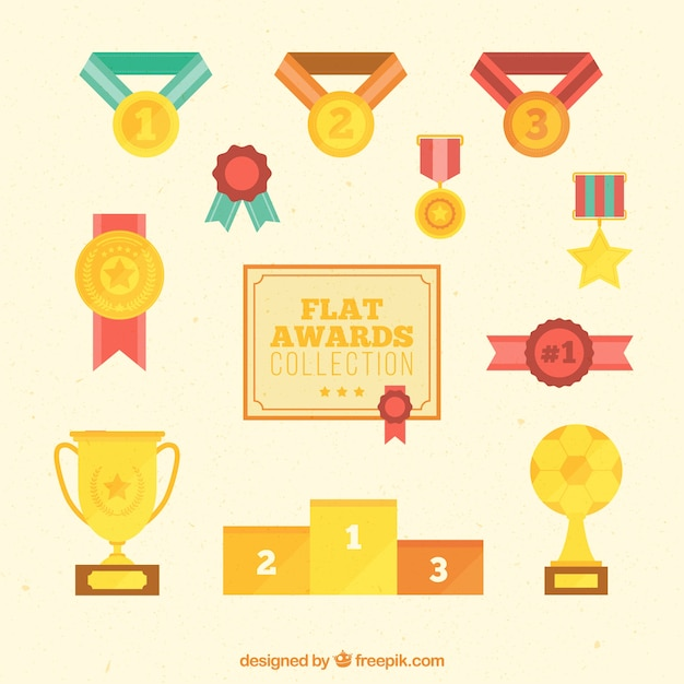 Zestaw Złote Nagrody W Płaskiej Konstrukcji Premium Wektorów