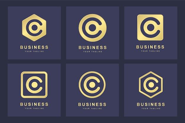 Zestaw Złotego Logo Litery C Z Kilku Wersji Premium Wektorów