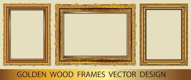 Zestaw złotej ozdobne ramki vintage Premium Wektorów