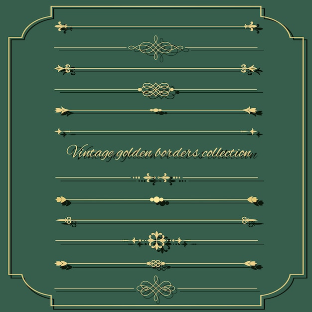 Zestaw Złoty Dzielnik Vintage. Premium Wektorów