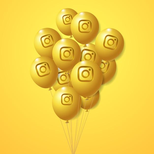 Zestaw Złotych Balonów Z Logo Instagram Premium Wektorów