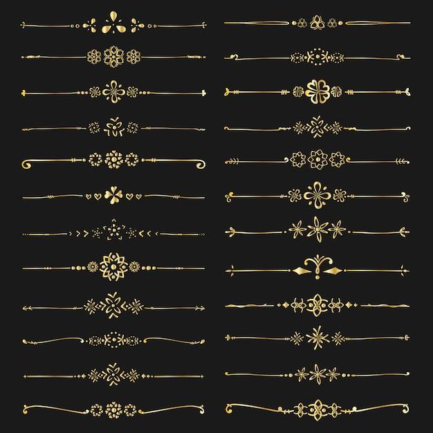 Zestaw Złotych Dzielników Dekoracyjnych Premium Wektorów