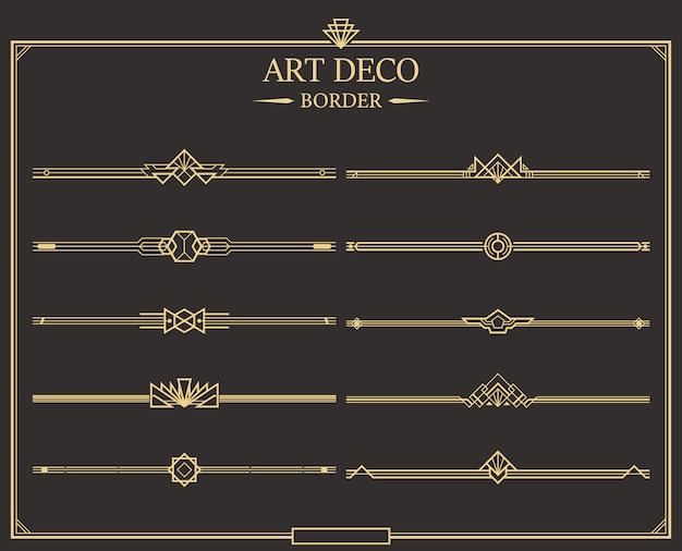 Zestaw Złotych Kaligraficznych Dzielników Strony W Stylu Art Deco. Premium Wektorów