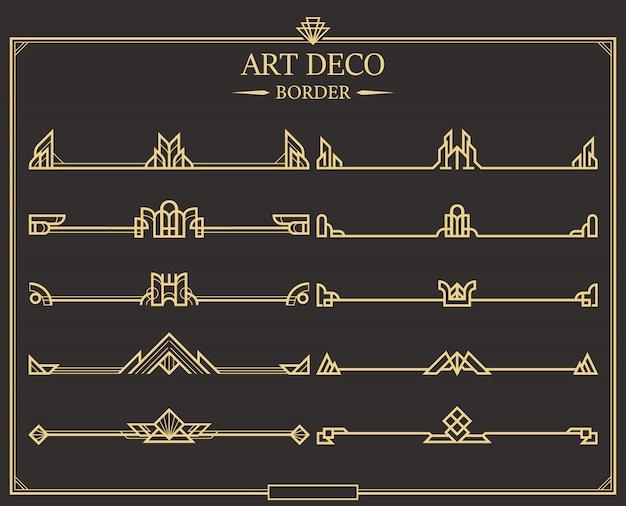 Zestaw Złotych Kaligraficznych Przekładek Do Stron W Stylu Art Deco. Premium Wektorów