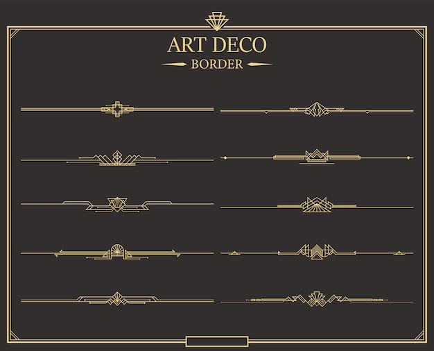Zestaw Złotych Kaligraficznych Przekładek Stron W Stylu Art Deco. Premium Wektorów