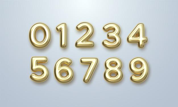 Zestaw Złotych Liczb. 3d Ilustracji Wektorowych. Realistyczne Błyszczące Postacie. Pojedyncze Cyfry. Premium Wektorów