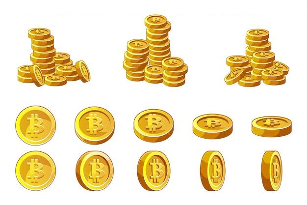 Zestaw Złotych Monet Bitcoins I Zestaw Animacji. Finansowa Sukces Kryptowaluty Pojęcia Ilustracja. Premium Wektorów