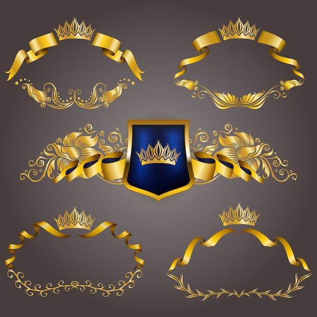 Zestaw złotych monogramów vip do projektowania graficznego. elegancka wdzięczna rama, wstążka, filigranowa obwódka, korona w stylu vintage Premium Wektorów