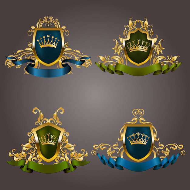 Zestaw złotych monogramów vip. elegancka wdzięczna rama, wstążka, filigranowa obwódka, korona w stylu vintage Premium Wektorów