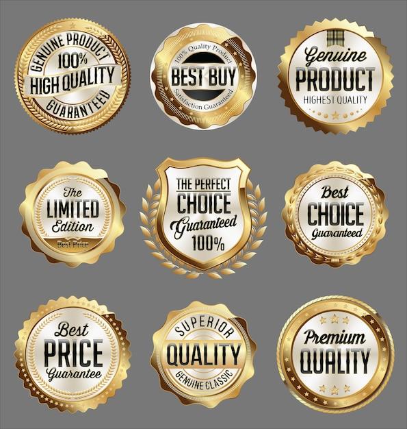 Zestaw Złotych Odznak Detalicznych Premium Wektorów