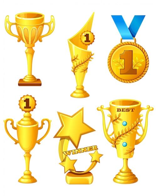 Zestaw Złotych Pucharów I Medalu. Darmowych Wektorów
