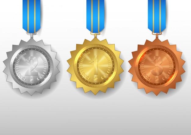 Zestaw Złotych, Srebrnych I Brązowych Medali Premium Wektorów