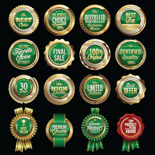 Zestaw Złotych Zielonych Odznak Detalicznych Premium Wektorów