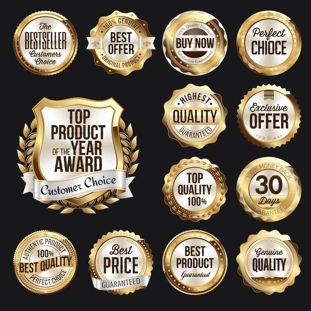 Zestaw Znaczków Gold White Retail Premium Wektorów