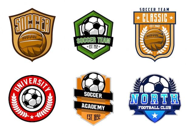 Zestaw Znaczków Piłki Nożnej Lub Piłki Nożnej Premium Wektorów