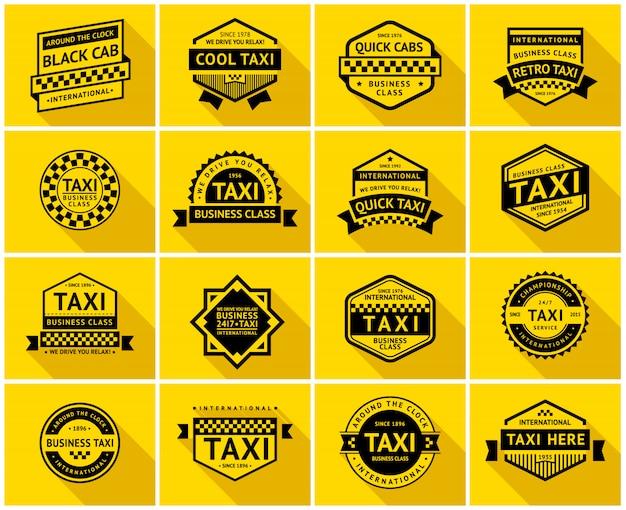 Zestaw znaczków taksówek Premium Wektorów