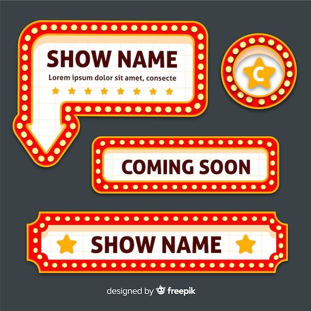 Zestaw Znak Płaski Retro Teatr Premium Wektorów