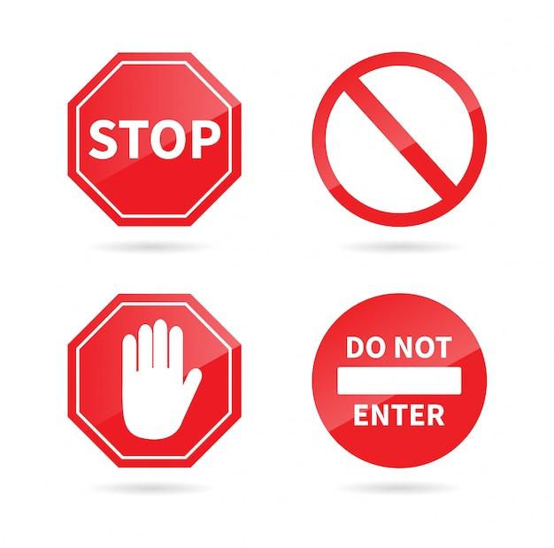 Zestaw Znak Stopu. Znak Zabroniony. Premium Wektorów