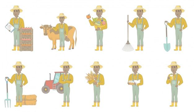 Zestaw Znaków Afrykańsko-amerykański Rolnik Premium Wektorów