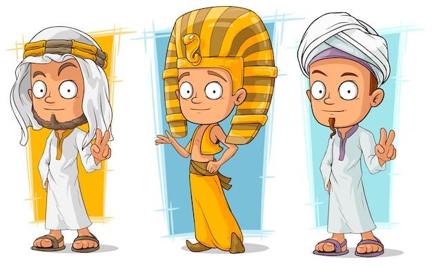 Zestaw Znaków Arabskich I Egipskich Kreskówek Premium Wektorów