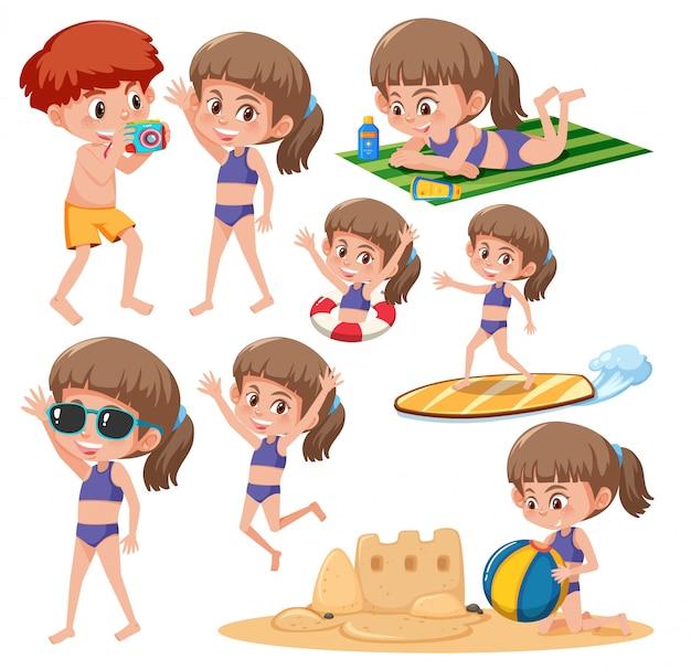 Zestaw Znaków Beach Girl Premium Wektorów