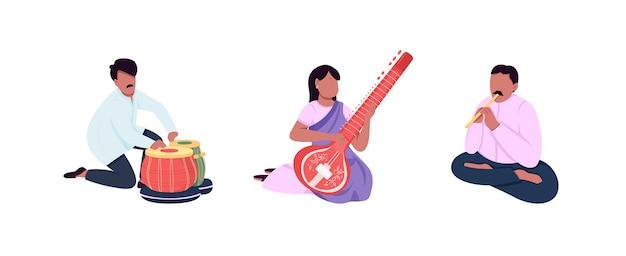 Zestaw Znaków Bez Twarzy Tradycyjnych Indyjskich Muzyków. Kobieta W Sari. Indyjskie Etniczne Instrumenty Muzyczne Ilustracja Kreskówka Na Białym Tle Do Projektowania Grafiki Internetowej I Kolekcji Animacji Premium Wektorów