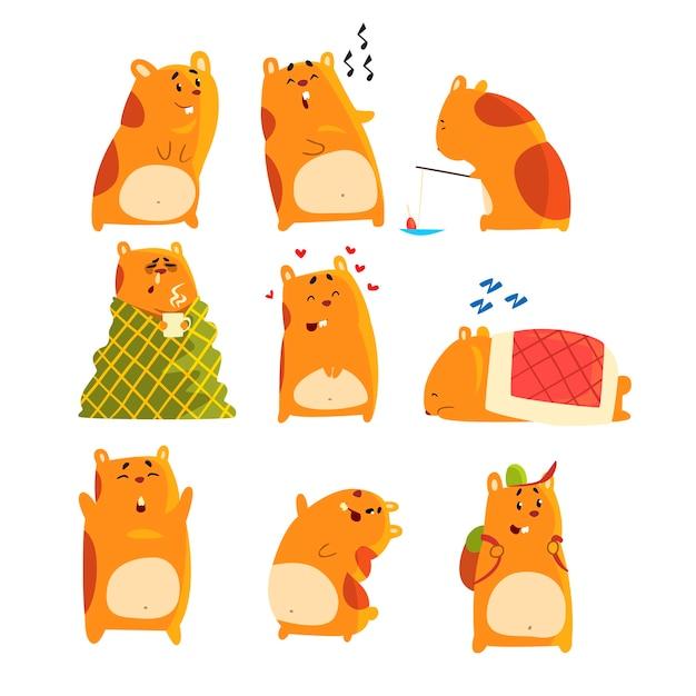 Zestaw Znaków Chomika Kreskówka, Zabawne Zwierzę Pokazujące Różne Działania I Emocje Premium Wektorów