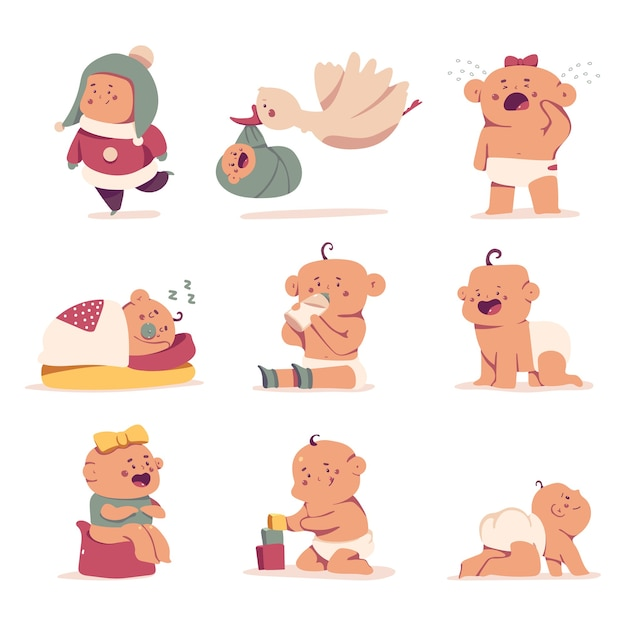 Zestaw Znaków Cute Baby Cartoon Premium Wektorów