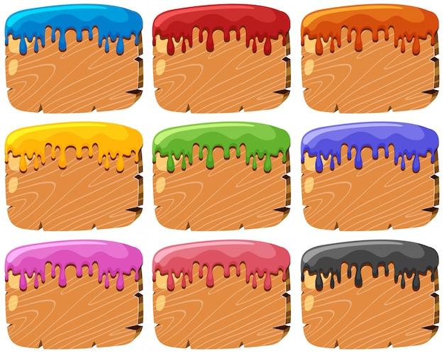 Zestaw znaków drewna rozpryski farby Darmowych Wektorów