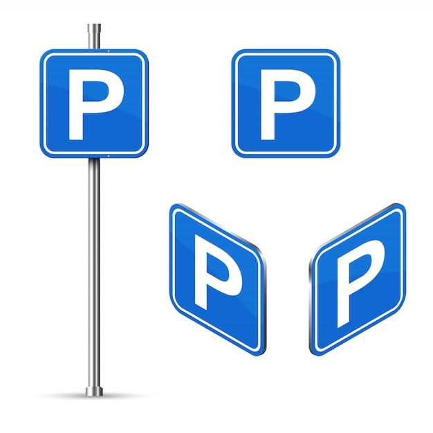 Zestaw Znaków Drogowych Miejsce Parkingowe Premium Wektorów