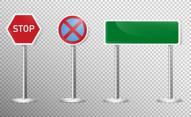 Zestaw Znaków Drogowych Na Przezroczystym Tle. . Premium Wektorów