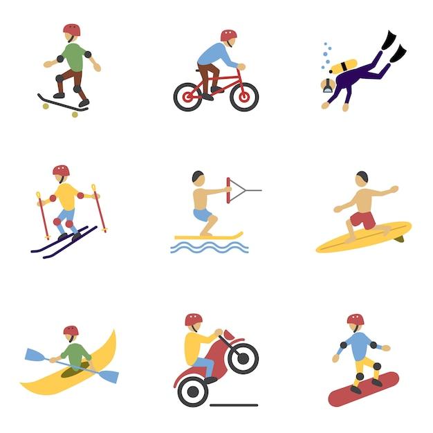 Zestaw znaków ekstremalnych sportów Darmowych Wektorów