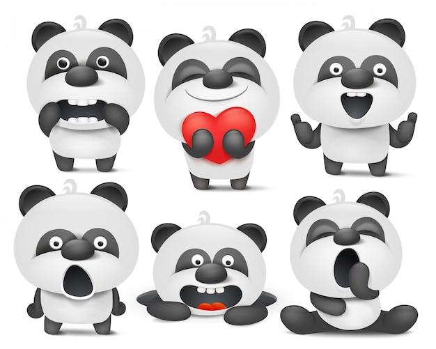 Zestaw znaków emoji kreskówki panda w różnych sytuacjach. Premium Wektorów