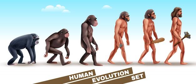 Zestaw Znaków Ewolucji Człowieka Darmowych Wektorów