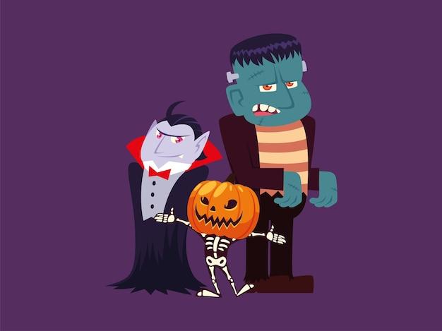 Zestaw Znaków Halloween Wampir, Frankenstein, Dynia I Szkielet Premium Wektorów