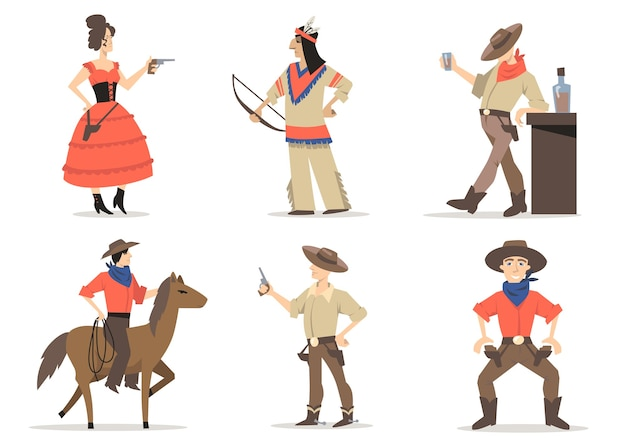 Zestaw Znaków Kowbojów. Tradycyjni Mieszkańcy Dzikiego Zachodu, Czerwoni Indianie, Rodeo Na Koniu Na Lasso, Szeryf Pijący Whisky W Saloonie. Za Amerykańską Kulturę, Tradycję, Historię Darmowych Wektorów