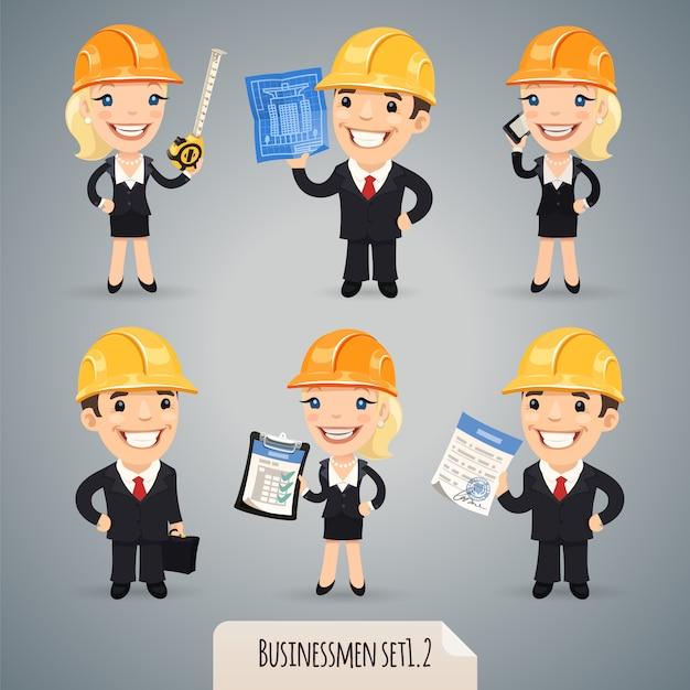 Zestaw Znaków Kreskówek Biznesmenów Premium Wektorów