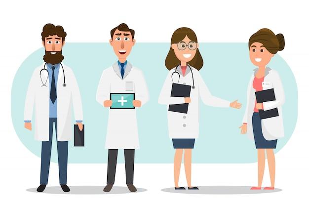 Zestaw znaków kreskówek lekarz i pielęgniarka Premium Wektorów