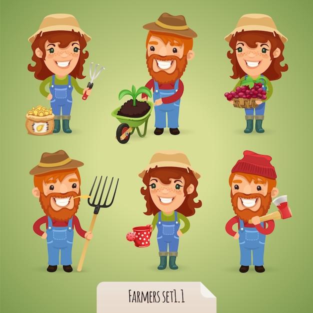 Zestaw znaków kreskówek rolników Premium Wektorów