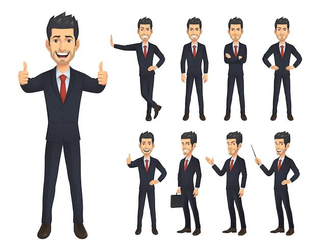 Zestaw znaków kreskówka biznesmen Premium Wektorów