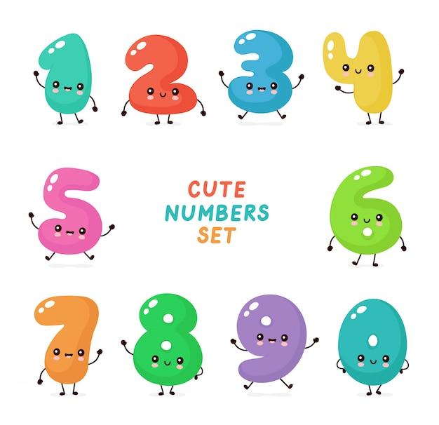 Zestaw znaków ładny uśmiechający się szczęśliwe liczby Premium Wektorów