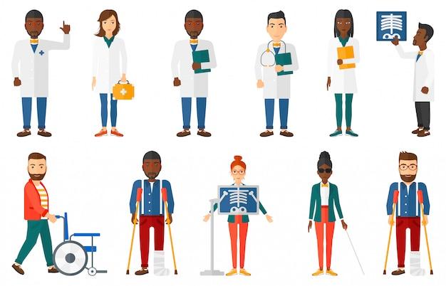 Zestaw Znaków Lekarza I Pacjentów. Premium Wektorów