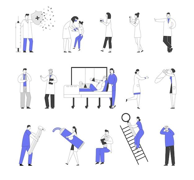 Zestaw Znaków Lekarzy I Pacjentów Płci Męskiej I żeńskiej W Szpitalu Premium Wektorów