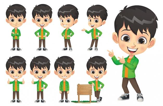 Zestaw Znaków Little Boy Premium Wektorów