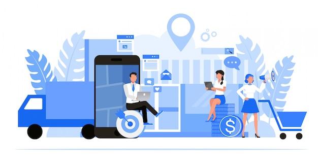 Zestaw Znaków Ludzi Biznesu. Optymalizacja Lokalnego Biznesu I Koncepcja Marketingowa. Premium Wektorów