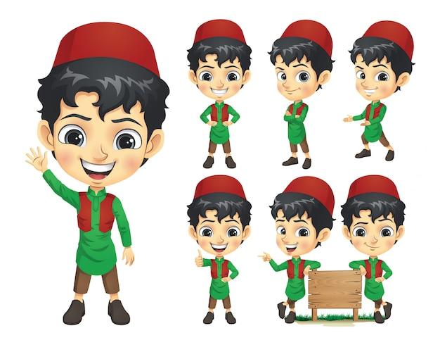 Zestaw Znaków Maskotka Chłopiec Muzułmańskich Premium Wektorów