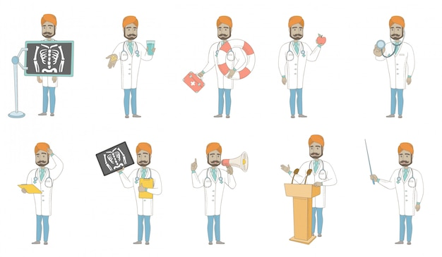 Zestaw Znaków Młodego Lekarza Indyjskiego Premium Wektorów