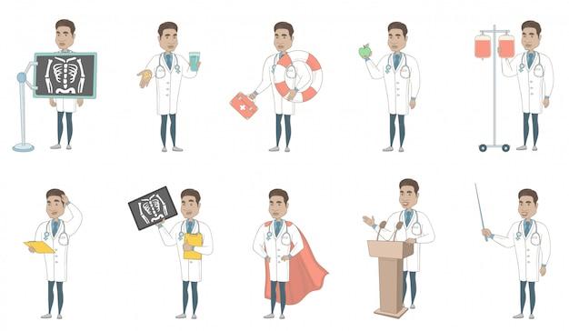 Zestaw Znaków Młody Lekarz Hiszpanin Premium Wektorów